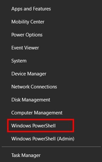 Power User menu in Windows 10 containing Windows PowerShell
