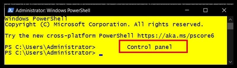 Windows PowerShell to open Control Panel on Windows 10
