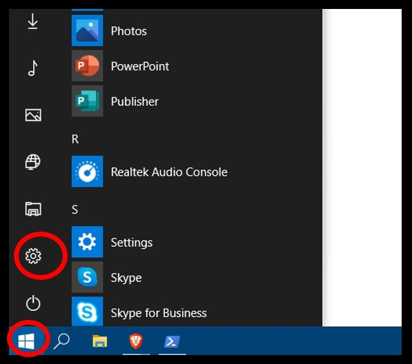 Start menu to open the Settings menu on Windows 10