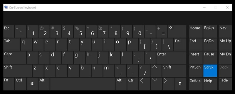 The On-Screen Keyboard on Windows 10 without numeric keys