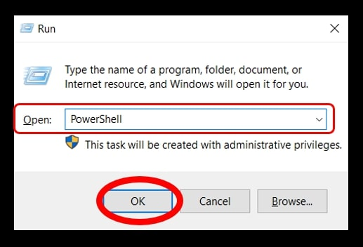 The Run command to open the PowerShell in Windows 10