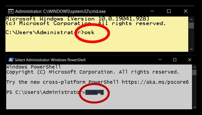 Command Prompt and Windows PowerShell command to open the Virtual Keyboard in Windows 10