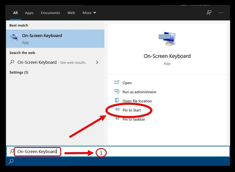 The Start menu highlighting the path to pin the On-Screen Keyboard in Windows 10