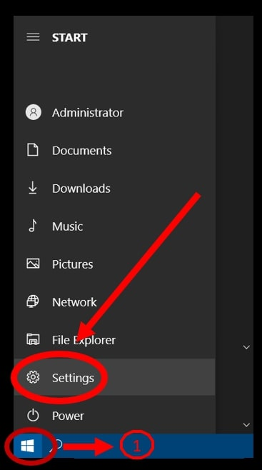 Start menu highlighting how to open the Settings on Windows 10