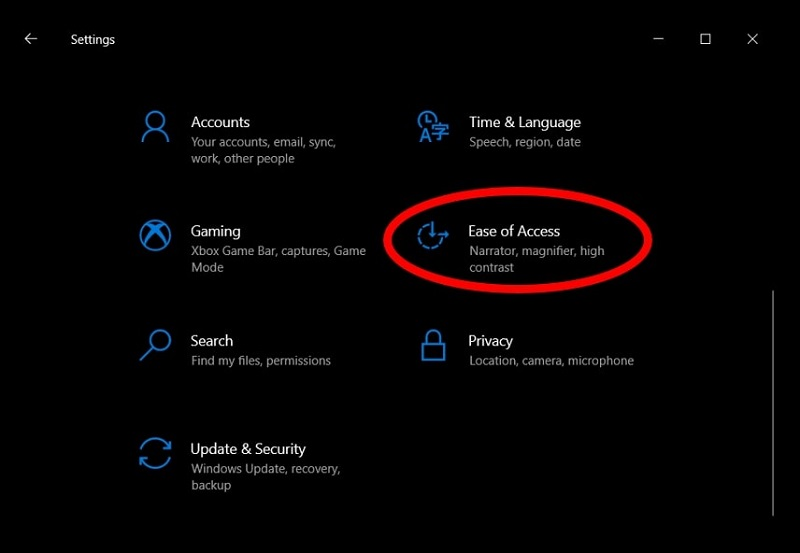 Settings menu highlighting the Ease of Access option on Windows 10