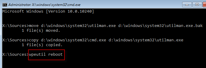 Using wpeutil reboot command in cmd Windows 10