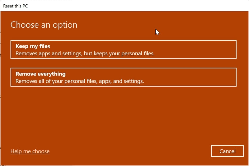 Keep my files or remove everything on Windows 10