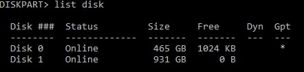 list disk on Windows 10 command prompt