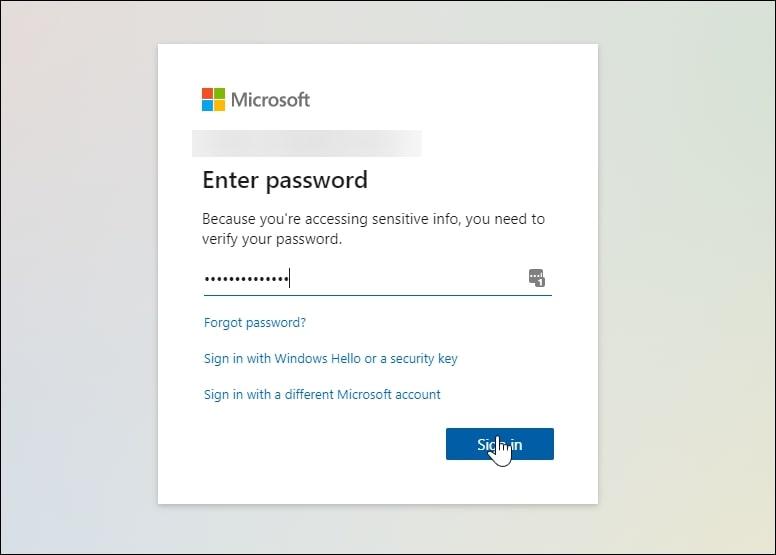 Log into Microsoft account