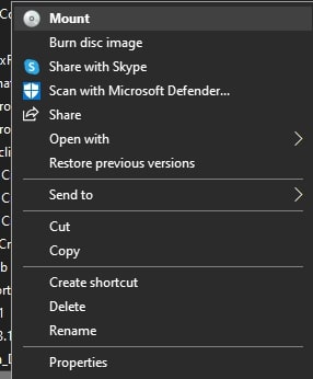 Mount the ISO file on Windows 10