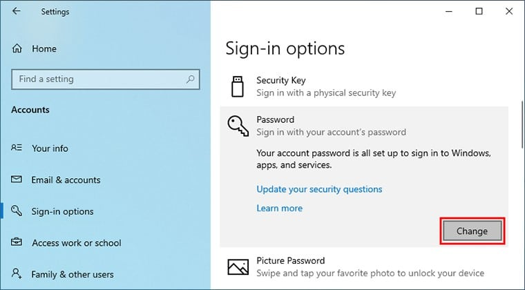 navigate to sign in options on Windows 10