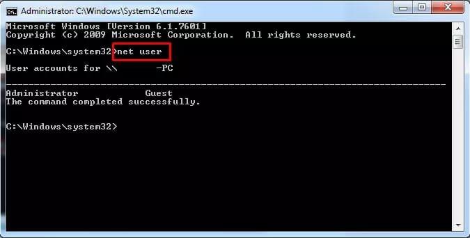 Net user command on Windows 7