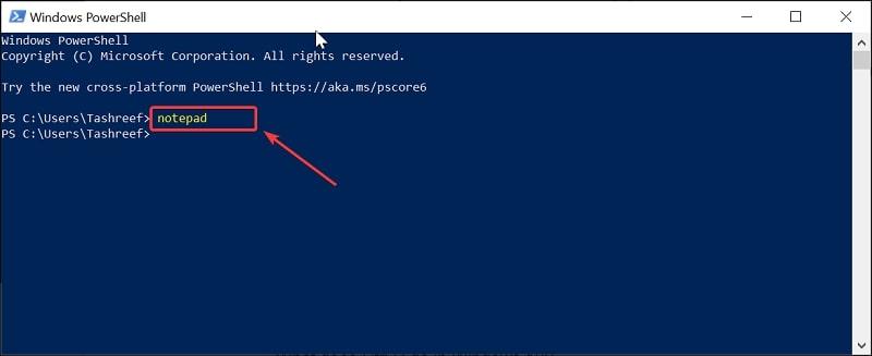 Open Notepad on Windows 10 via Windows PowerShell