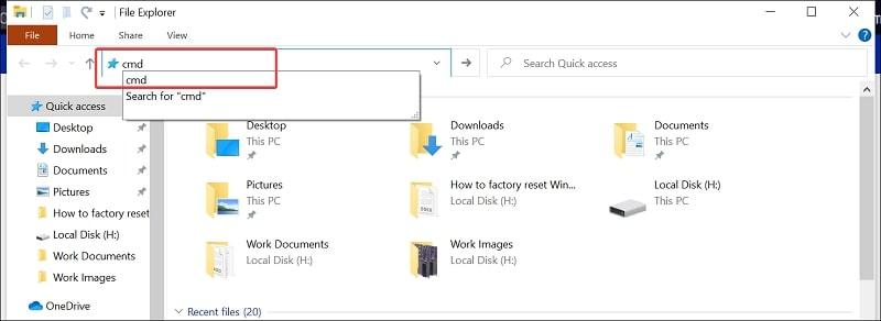 Open Command Prompt on Windows 10 from File Explorer's Address Bar