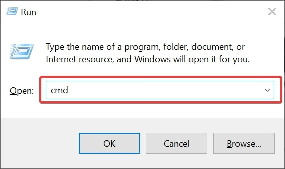 Open Command Prompt on Windows 10 from Run