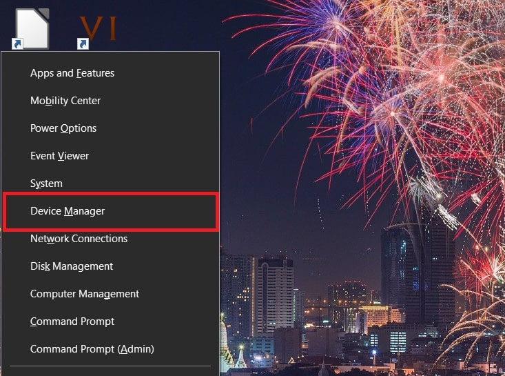 Open Device Manager in Windows 10 from The Win+X menu