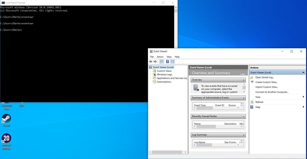 Open Event Viewer in Windows 10 from Command Prompt