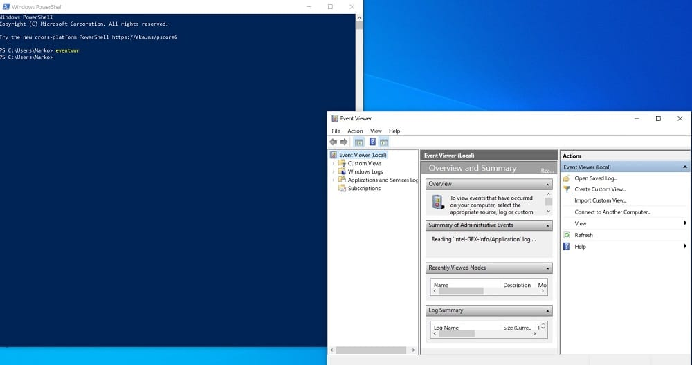 Open Event Viewer in Windows 10 from PowerShell