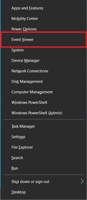 Open Event Viewer in Windows 10 from the WinX Menu
