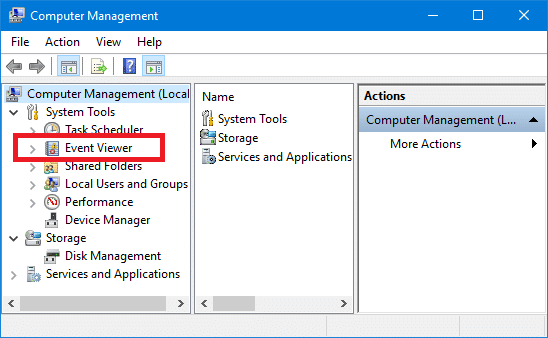 Open Event Viewer in Windows 10 from Computer Management