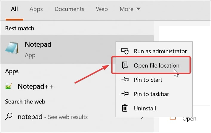Open file location for Notepad Windows 10