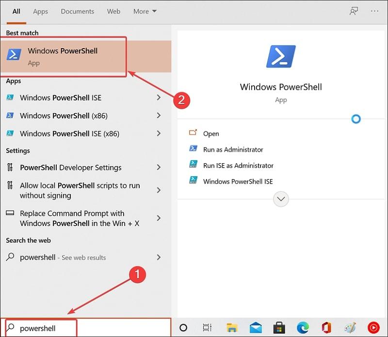 Open Powershell on Windows 10