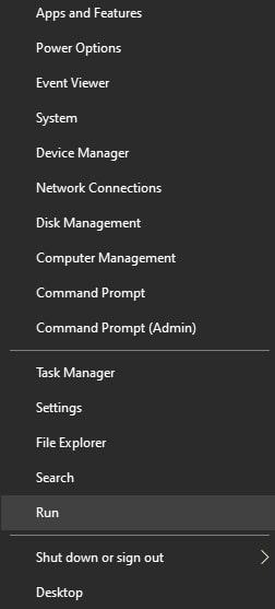 Open Run Command Window in Windows 10 from the Windows 10 Quick Access Menu