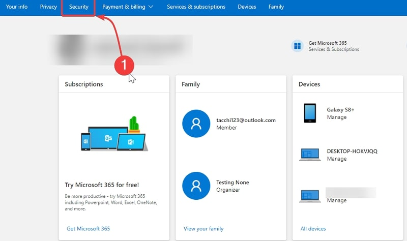 Open Security on Microsoft account page