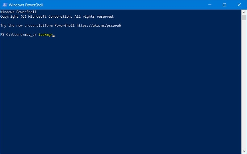 Open Task Manager in Windows 10 From PowerShell