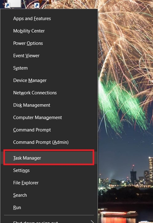 Open Task Manager in Windows 10 from the Win+X Menu
