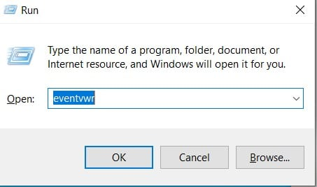 Open Event Viewer in Windows 10 through the Run Command Box