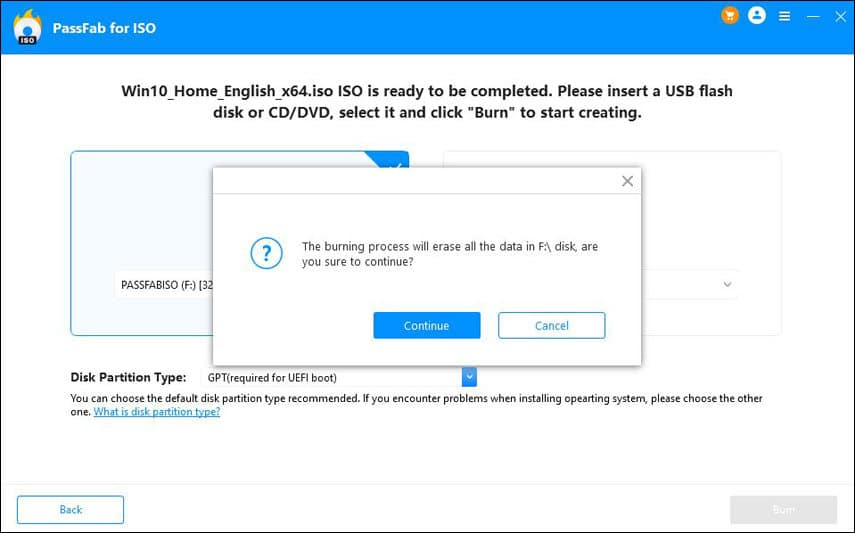 Burn a Windows 10 bootable disk with PassFab for ISO