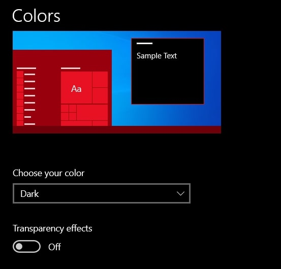 Personalize with required Color option to change taskbar color on Windows 10