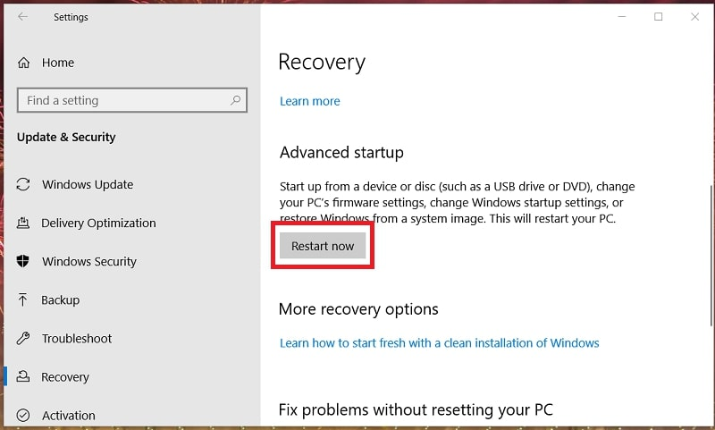 The Recovery tab in Settings Windows 10