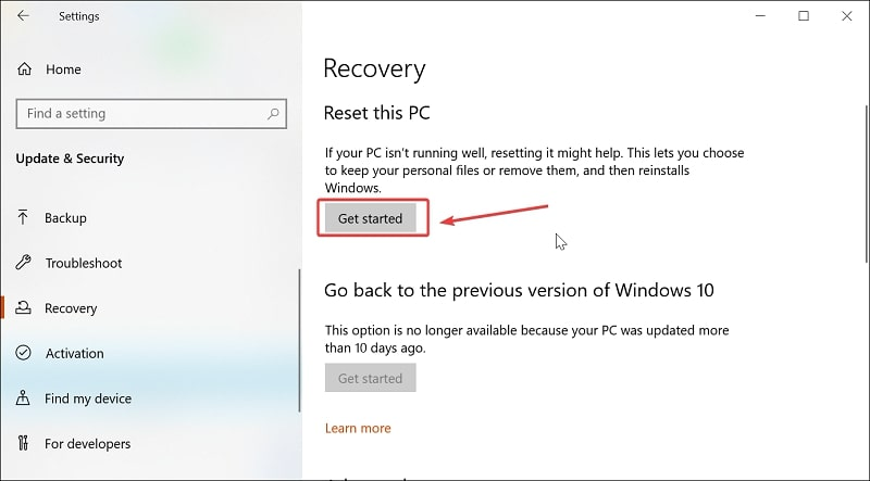 Get started to reset this PC on Windows 10