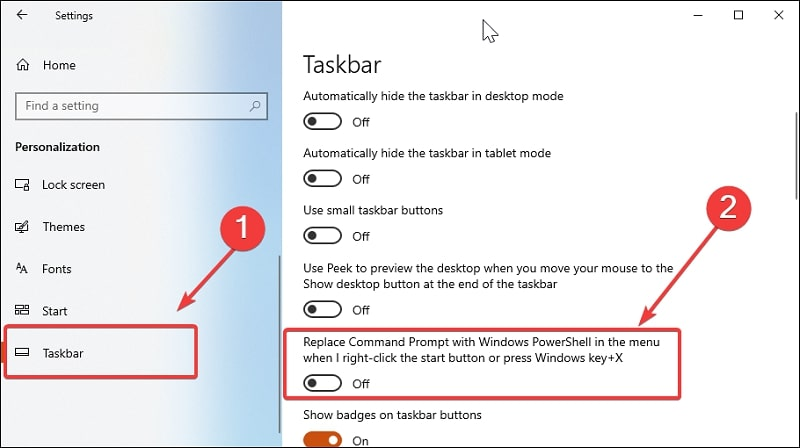 Replace Command Prompt with Windows Powershell in WinX menu Windows 10