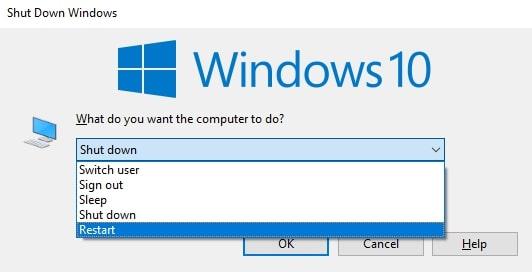 Reboot Windows 10 Computer in the Shut Down Windows Dialog