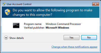 Confirm to open command prompt as administrator on Windows 7