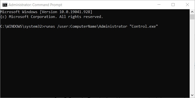 The runas command to open Control Panel on Windows 10 as admin