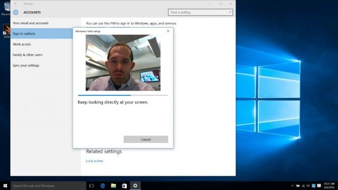 scan your face for Windows Hello Face