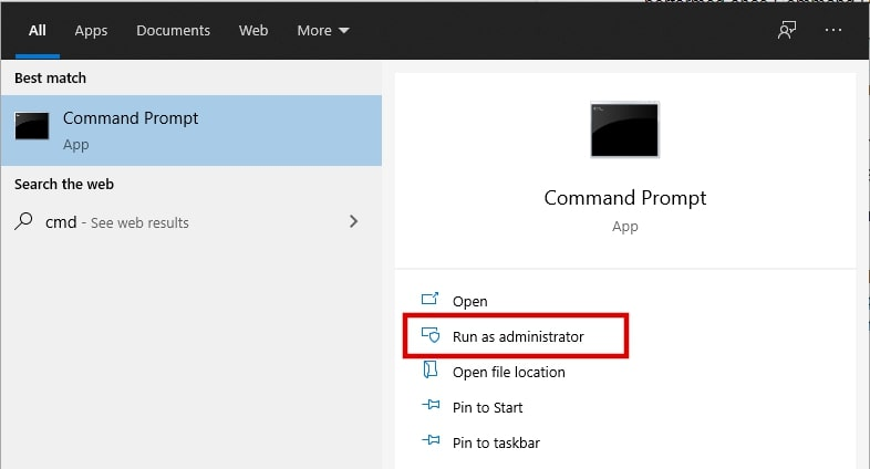 Search cmd on Windows 10 and run as administrator in the right panel