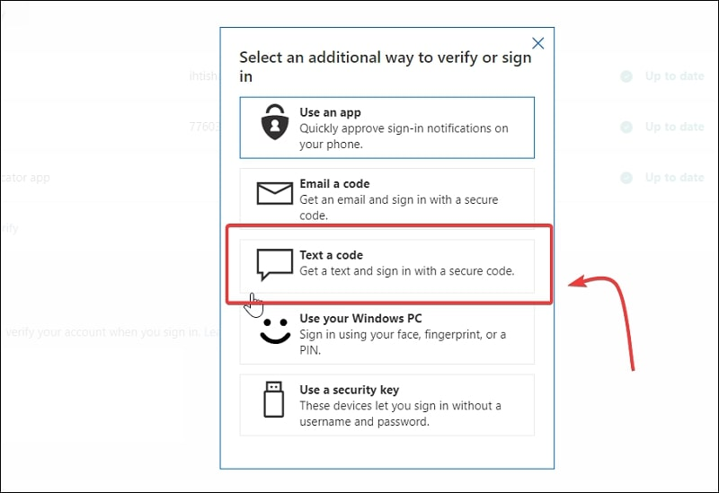 Select an additional way to verify or sign in