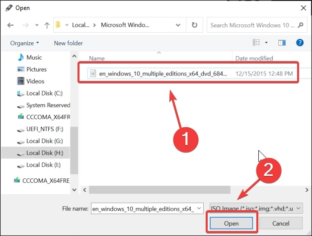 Open the Windows 10 ISO image in rufus