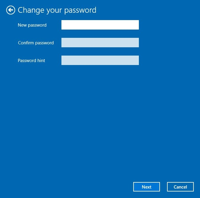 Set a password and password hint on Windows 10