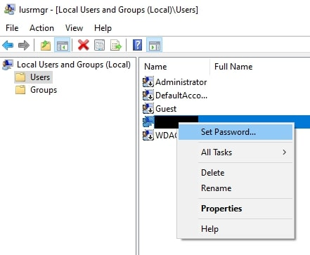 Set Password from Local Users and Groups on Windows 10