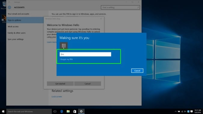 set up a code for Windows Hello Face
