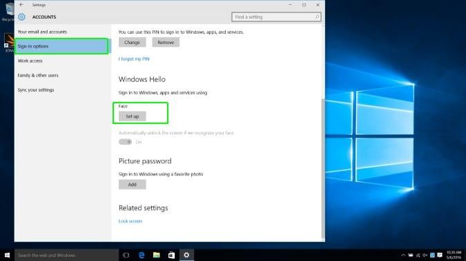 Set up Windows Hello Face on Windows 10