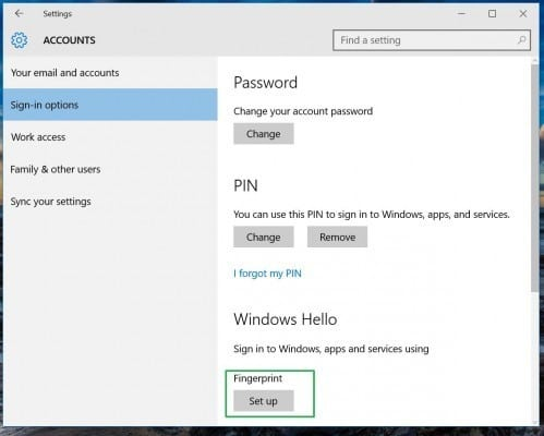 Set up Windows Hello Fingerprint on Windows 10