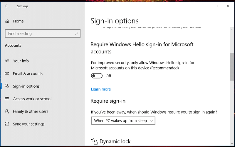 The Sign-in options tab on Windows 10