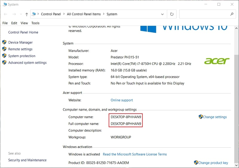 The System window on Windows 10